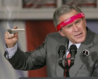 Hippie George W. Bush smokes a giant joint and chills out as his reign comes to an end.