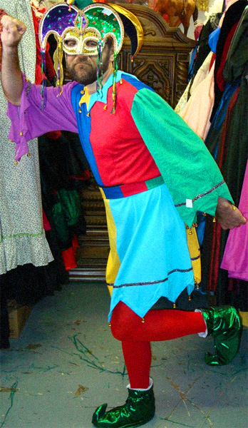 Chris models his The Jester costume, a mistake for which he would pay dearly, losing the plum role to Heath Ledger.